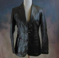 Remy Women's Vintage Black Leather Lined/Fitted 2-Pocket Blazer Size 12 Made USA