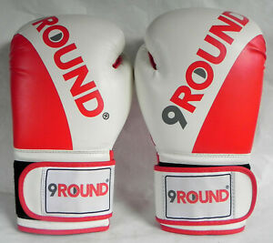 9 Round Boxing Gloves Red/White, 10 oz, Fitness Training Speed Bag Work, Exc.