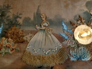 Vintage Crinoline Lady Tray Embroidered & Embroidered Tray Cloth