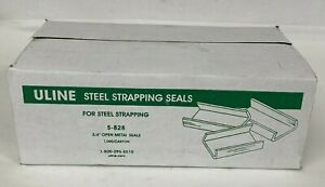 New Case Of 1000 Uline S-828 3/4 inch Open Metal Seals For Steel Strapping