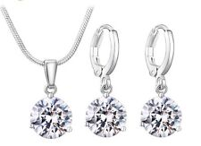 Jewelry Set For Women - Round Cubic Zircon Copper Necklace And Earrings
