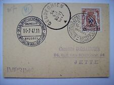 carte salon aéronautique Bruxelles 1947 aviation cachet postal