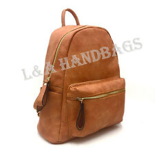 Ladies / Women's Large Plain Faux Leather School College A4 Backpack Rucksack