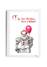 IT Pennywise Birthday A6 Card Funny Classic Horror Stephen King Novelty Balloon