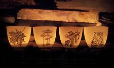 4 x Windlicht Porzellan Weiß Motiv Eule Blätter Pilze schwarzweiß Schwarz Weiß