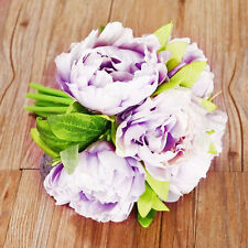 1 Bouquet Purple Flower Bunch Wedding Home Decor  Artifical Peony Silk Hydrangea