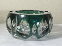 Val St Lambert Cendrier Ashtray Signed  Clear Crystal Cut to Green EUC  Vintage