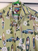 Reyn Spooner Hawaiian Shirt 90's Medium Surf Woody Flowers Match Pocket Cotton