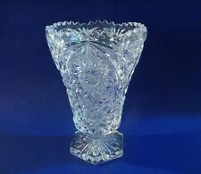 """Vintage Clear Crystal Glass Daisy Star  Pattern Footed 8""""  Vase"""