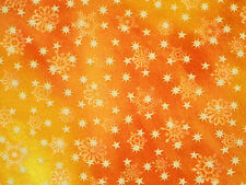 "LOVE & PEACE CHRISTMAS FABRIC HOLIDAY STARS SNOWFLAKES  100% COTTON  12"" REMNANT"