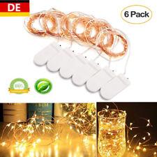 2M 20 LEDs Kupferdraht Lichterketten Batterie Weihnachtsleuchte Warmweiß 6er Set