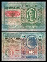 Austria Hungary 100 kronen korona 1912 / P12  with overprint