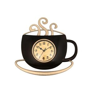 Black & Antique Gold Coloured Coffee Cup Shaped Wall Clock 29 CM