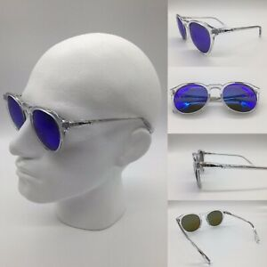 Men's Crystal Wire Insert Acetate Frame Blue Mirror TAC Polarized Sunglasses