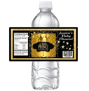 BLACK and GOLD LITTLE PRINCE CROWN BABY SHOWER PARTY FAVORS WATER BOTTLE LABELS