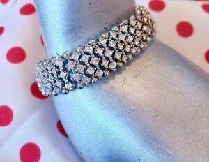 VINTAGE DIAMANTE 70/80s Bracelet Silver Tone PRINCESS BLING Sparkle Elasticated.