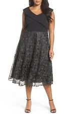 $219  20W  Alex Evenings Tea Length Soutache Embroidered Party Dress