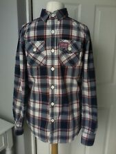SUPERDRY shirt  UK M blue red check long sleeves cotton