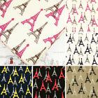 Cotton Fabric per FQ France Paris Eiffel Tower Retro Print Quilt FabricTime VK25