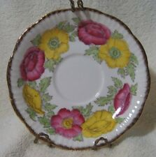 "Iceland Poppy Salisbury Fine China Made in England Gold Trim 5.75"" Saucer wStand"