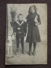 YOUNG BOY & GIRL WITH LARGE GOAT PULL TOY  VTG  REAL PHOTO POSTCARD