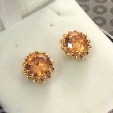 MR Honey topaz 10mm round 18ct yellow gold GF stud earrings GIFT BOXED Plum UK