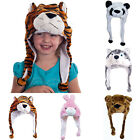 YW Kid Cartoon Animal Hat Plush Beanie Fleece Warm FLUFFY HOODED Cap Earmuff