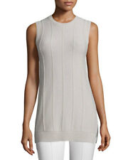 NEW THEORY Meenaly Cashmere Sleeveless Off Whit Ivory Sweater Top Blouse  SIZE S