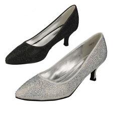 Zapatos de tacón de mujer textil de color principal plata