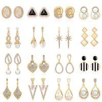 1 Pair Elegant Women Rhinestone Crystal Opal Pearl Ear Stud Earrings Jewelry New