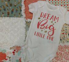 baby girl salmon aqua rag quilt gift set  dream flower bodysuit set