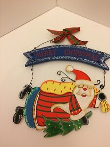 Bright Swinging Father Xmas, Merry XmasWood & Wire Hanging Dec