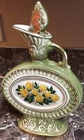 Jim Beam Vintage 1969 Decanter Yellow Roses Regal China Green Gold Bottle Empty