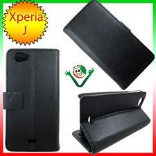 Custodia eco pelle specifica  per Sony Xperia J ST26i martellata NERA stand case