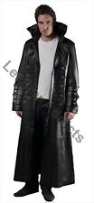 Mens Matrix Style Trench Coat Real Black Leather Gothic Steampunk