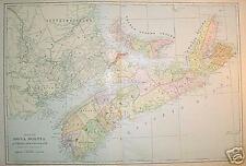 1902 Nova Scotia, Canada Large 2- page Color Map*