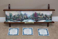 Thomas Kinkade Lamplight Village 3 Plate Collection with Display Rack