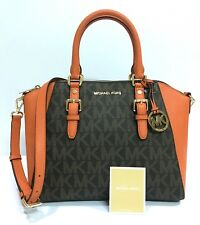 3b37380a4a4a Michael Kors * Ciara LG TZ Leather Satchel Bag Brown Tangerine COD PayPal