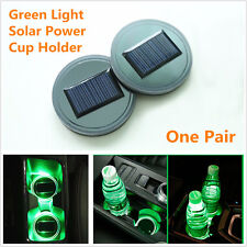 2Pcs Solar Power Car Cup Holder Bottom Pad LED Light Cover Trim Atmosphere Lamp