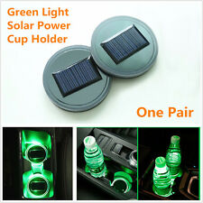 2Pcs Solar Power Car Cup Holder Bottom Pad LED Light Cover Trim Atmosphere Lamp