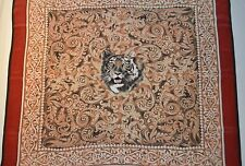 "Designer KRIZIA beige RED coral tigerl PAISLEY brown multi-color 35"" SILK SCARF"