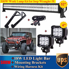 52'' 500W LED LIGHT BAR +18W Spot LAMP+Bracket + Wiring KIT FOR JEEP Wrangler JK