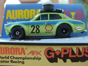 RARE AURORA G-PLUS FORD ESCORT RALLY  STENCIL VERSION BOXED CUBE CLAM TYCO/AFX