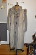 vintage sapphire blue iris gray silver corded mink & fox fur tuxedo long coat