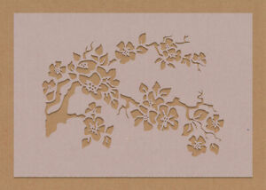 Cherry Blossom Tree Branch In Bloom Stencil Flowers Floral Wall Art Crafts Chic