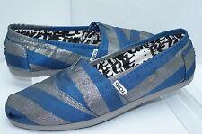 NUOVO Toms donna scarpe classiche blu basse taglia 9.5 PANTOFOLE MOCASSINI