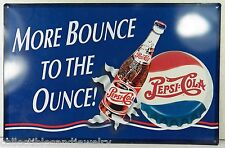 "Pepsi Cola Sign More Bounce to the Ounce Retro Metal Wall Decor 17 x 11.25"""