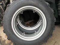 TWO 13.6X28 FORD NAA 8 ply Farm Tractor Tires w/rims & TWO 600x16 tri rib w/rims