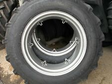 TWO 13.6X28 FORD NAA 8 ply Farm Tractor Tires w/rims & TWO 600x16 tri rib w/rims
