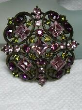 RARE~R J GRAZIANO Antiqued Brass Swarovski Crystal Rhinestone Pin Brooch~WOW~